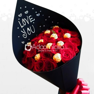 Bouquet Rosas I Love You Con Chocolates A Domicilio En Cali