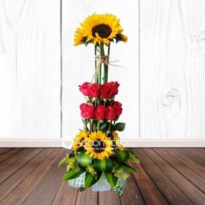 Arreglo Floral Girasoles Y Rosas Floristeria En Cali